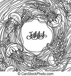 conception, style, art, ligne, méduse