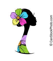 conception, tête, silhouette, ton, femme