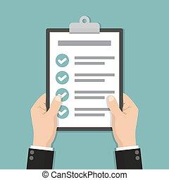 conception, tenue, liste contrôle, plat, mains, presse-papiers, homme affaires