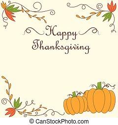 conception, thanksgiving, carte, jour