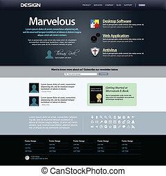 conception toile, site web, élément, templat
