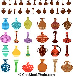conception, ton, collection, vases
