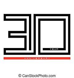 conception, trente, concept, anniversaire, vecteur, 30, année, logo, célébration