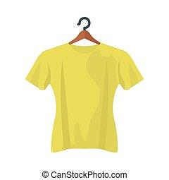 conception, tshirt, jaune, isolé, vecteur