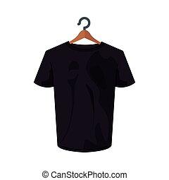 conception, tshirt, noir, isolé, vecteur