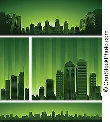 conception urbaine, arrière-plan vert