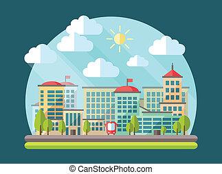 conception urbaine, paysage, illustration, plat