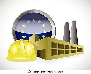 conception, usine, illustration, européen