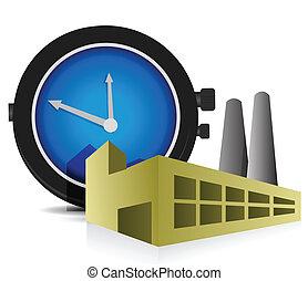conception, usine, illustration, temps