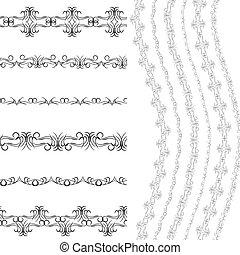 conception, utilisé, album, arrière-plan., vendange, brosses, seamless, motifs, borders., vecteur, noir, gabarit, included., cadres, modèle, blanc, ton, design.