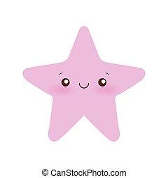 conception, vecteur, dessin animé, kawaii, étoile