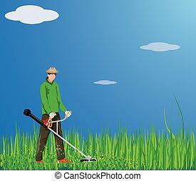 conception, vecteur, herbe, gardner, fauchage