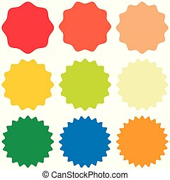 conception, vecteur, starburst, insignes, sunburst, éclater, ensemble, gabarit, promo, éclater, autocollant, formes