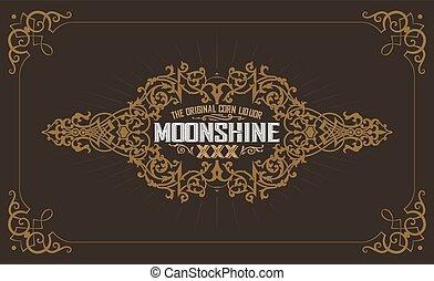 conception, vieux, cadre, étiquette, moonshine