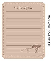 conception, vivant, papier, ligne arbre