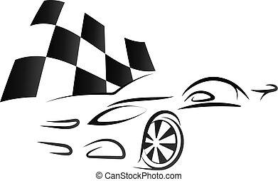 conception, voiture, drapeau, checkered