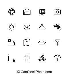 conception, voyage, icône