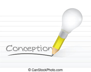 conception written with a light bulb idea pencil