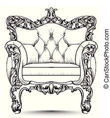 conceptions, armchair., réaliste, victorien, vecteur, luxe, baroque, meubles, decor., orné