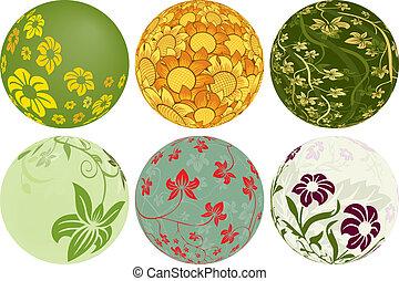 conceptions, balles, six, ajouter, floral, ton