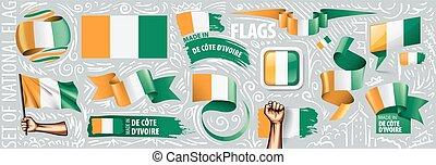conceptions, cote, créatif, drapeau, vecteur, divers, ...