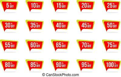 conceptions, ensemble, coût, moderne, vente étiquette, étiquette, escompte, vecteur, gabarit, promotion, insignes