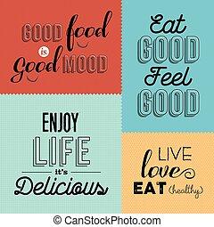 conceptions, ensemble, coloré, nourriture, citation, étiquettes, retro