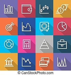 conceptions, ensemble, finance, icones affaires