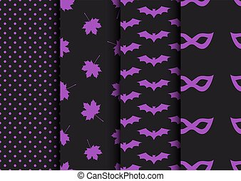 conceptions, ensemble, halloween, seamless, automne, backgrounds.