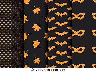 conceptions, ensemble, halloween., seamless, automne, backgrounds.