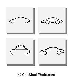 conceptions, ensemble, icônes, voiture,  -, vecteur,  logo, ligne