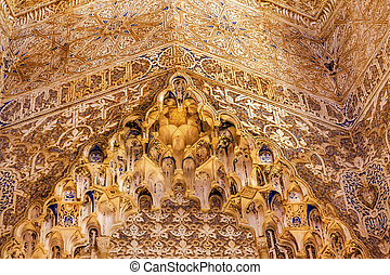 conceptions, grenade, mur, maure, alhambra, cour, andalousie, espagne