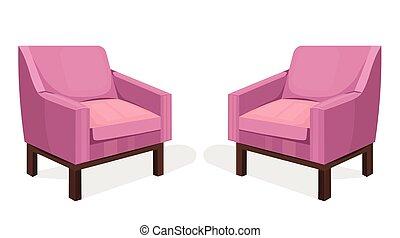 conceptions, tapisserie ameublement, coloré, chaises, moderne, collection, ensemble, vector.