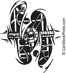conceptions, vecteur, -, biomechanical, illustration