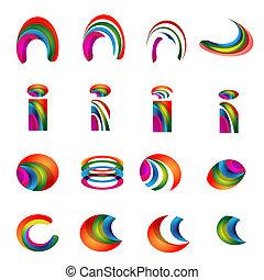 conceptions, version, logo, alphabet, vecteur, vibrant, 2