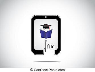 concepto, él, curso, colegio, aprendizaje, educativo, silueta, tableta, -, joven, libro, en línea, blanco, lectura, tarde, mano, conmovedor, estudiante, icono, distancia, gorra, graduación, profesional