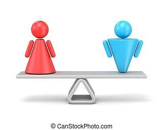 concepto abstracto, de, género, igualdad