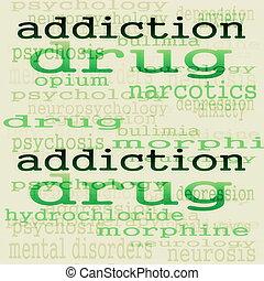 concepto, adicción, plano de fondo
