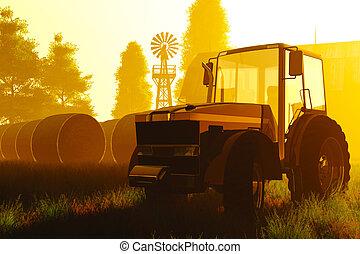 concepto, agricultura, render, 3d