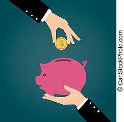 concepto, ahorro, empresa / negocio, banco, inversión, dinero, mano, poniendo, cerdito, moneda