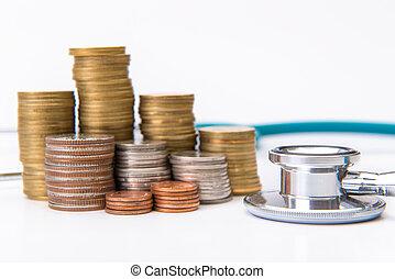 concepto, ahorro, empresa / negocio, instrumentos, médico, pila, dinero, crecer, moneda, estetoscopio