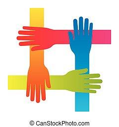 concepto, aislado, mano, vector, trabajo en equipo, popular, de conexión, icono