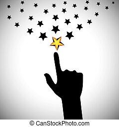 concepto, alcanzar, -, mano, vector, estrellas, ambición, ...