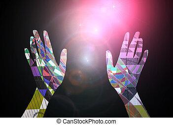 concepto, alcanzar, resumen, -, hacia, estrellas, manos