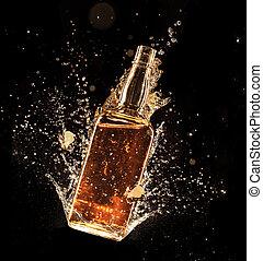 concepto, alrededor, licor, aislado, fondo negro, botella, salpicar