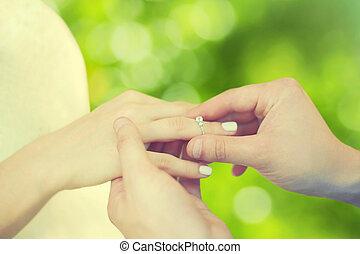 concepto, amor, compromiso,  -, mano, Primer plano, hembra, boda, anillo, macho