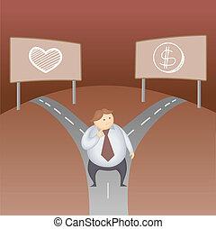 concepto, amor, empresa / negocio, dinero, decisión, carácter, caricatura, hombre