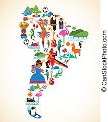 concepto, amor, iconos, -, ilustración, vector, américa, sur
