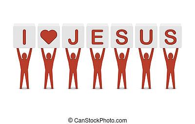 concepto, amor, illustration., hombres, tenencia, jesus., ...