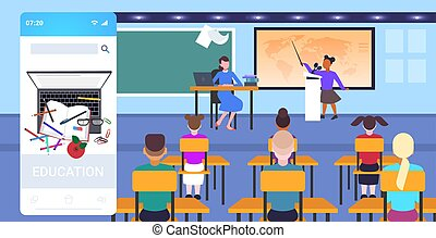 concepto, app, lección, educación, geografía, alumnos,...